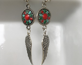 Intricate red/blue/green dangle earrings with silver-plated angel wings