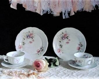 Set of 2 Misc Pink Floral Trios, English, Fine Bone Porcelain, 2 Tea Cups, 2 Saucers & 2 Plates, Vintage Party Tableware, Cloclough, Tea Set