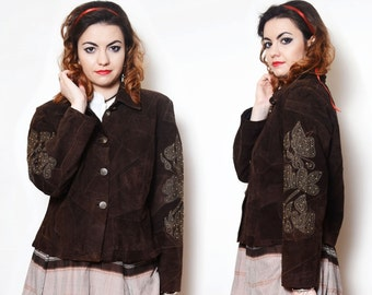 Leather Jacket Suede Jacket Brown Patchwork Embroidered Beaded Suede Embellished Brown Baroque Country Western Cowboy Women Cowgirl Blazer