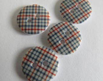 Cute button * patterned tiles (set of 4)