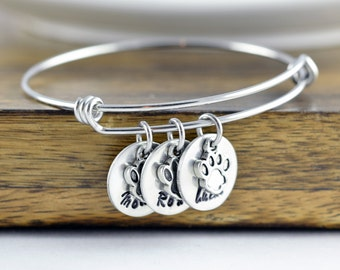 Dog Bracelet, Personalized Bangle Bracelet, Paw Print Bracelet, Pet Memorial Bracelet, Dog Lover Gift, Pet Lover Gift, Christmas Gifts