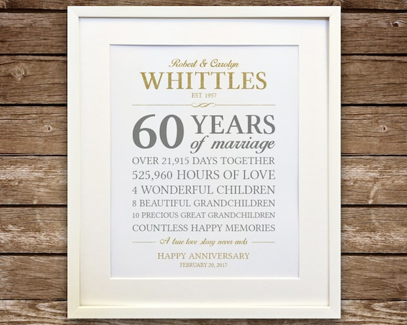 60th Wedding Anniversary Gifts For Parents: 60th Anniversary Gift Diamond Anniversary Anniversary Gift