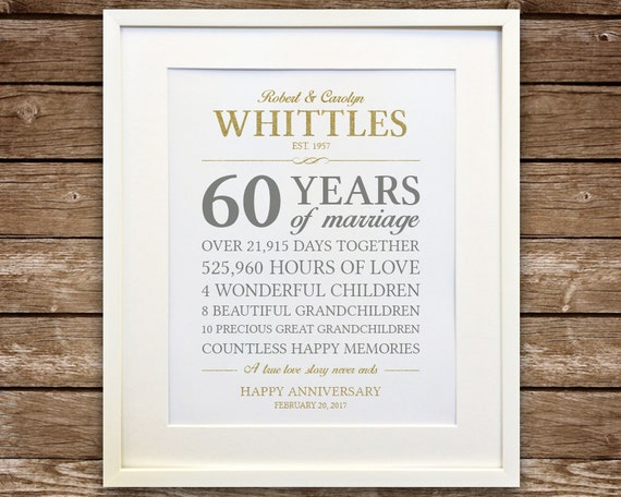 Ideas For 60th Wedding Anniversary Gifts For Parents: 60th Anniversary Gift Diamond Anniversary Anniversary Gift