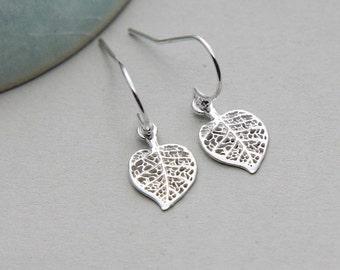 SALE, Leaf Earrings, Silver Leaf Earrings, Filigree Leaf Earrings, Sterling Silver Charm Earrings, Tiny Leaf Earrings, Woodland Earrings
