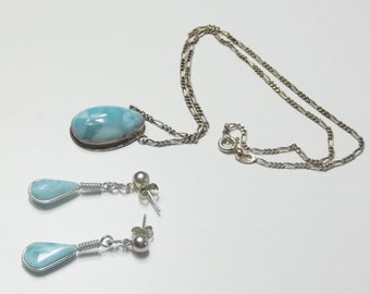 Larimar Teardrop Tear Drop Sterling Silver Vintage Necklace And Earrings 1970's Fine Jewelry Set Gift For Her on Etsy