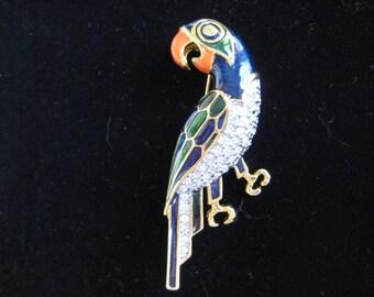 Vintage Rhinestone and Enamel Parrot Brooch