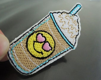 Emoji Drink Patches - Iron on Patches or Sewing on Patch Smile Face Drinks Patches Embroidered Patch Food Sewing Patch Dessert Embellishment