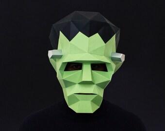 Frankenstein Mask, DIY Printable Monster Mask, Instant Pdf download, DIY Halloween Paper Mask, 3D Pattern, Polygon Masks