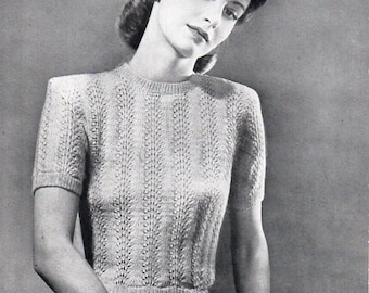 Vintage womens sweater knitting pattern PDF womens 2 ply jumper short sleeve top Vintage 40s 34-38 inch 2ply lace pdf Instant download