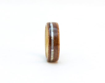 Size 5, Bentwood Band, Wooden Ring, Madrone Burl and Ash Wood Ring with Mother Pearl, Wood Wedding Band, Bentwood Ring, Wooden Wedding Ring