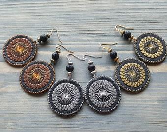 Boho Earrings Circle Earrings Leather Earrings Bohemian Earrings Silver Circle Earrings Gold Circle Earrings Embroidered Mandala Earrings.