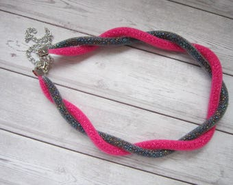 twisted mesh beaded bracelet