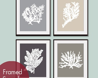 Underwater Sea Coral Collection (Series E) -Set of 4 - Art Prints (Featured in Dolphin, French Grey, Charcoal and Gravel)