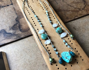 Self Love - Turquoise Pendant Hand Woven Necklace