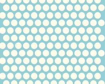 Dottie Cream/Pool - Birch Organic Fabrics Mod Basics - Available in Yards, Half Yards, Fat Quarters 0013-3
