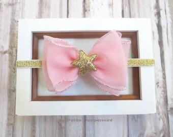 Pink and Gold Baby Headband, Baby Bow headband, Big Bow Baby head band, Gold newborn headband, girl hair bow, toddler headband, baby bow