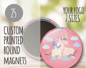 Custom Round Magnets- 25 w/ Your Logo,fridge magnets, custom magnets, promo magnets, shower favors, button magnets, wholesale magnets, bulk