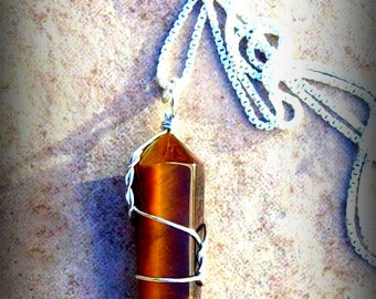 """TALISMAN Tiger eye (or tigers eye) pendant with 24"""" Sterling silver chain"""
