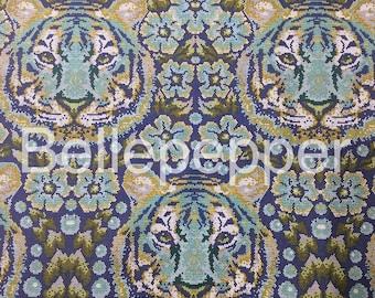 Tula Pink Eden Crouching Tiger Sapphire Fabric, 1 Yard