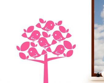 Birds in a Tree Children's Wall Sticker -  Girl's Art Vinyl Decal Transfer - by Rubybloom Designs