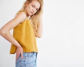 SOPHIE Tie Strap Linen Tank Top / Washed Linen Cami Top / Women Linen Camisole