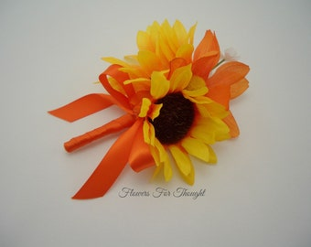 Sunflower Boutonniere with Orange Daisy, Mens Lapel Wedding Flower, Buttonhole Bloom
