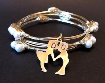 Personalized Bangle bracelet, Gold Pearl Bangle, brass customizable bangle, stackable bangle set,  custom, monogrammed bracelet, initials