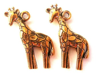 2 giraffe charms, antiqued copper, lead safe pewter