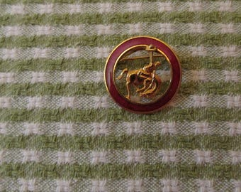 Cowboy Bucking Bronco Pin Brooch Gold Tone and Red