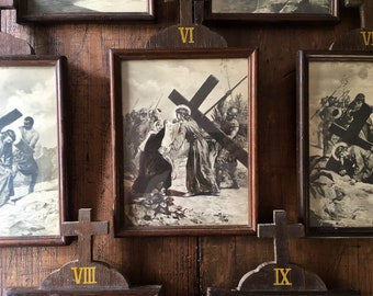 Stations of Cross Framed Christian Religious Pictures Church Wall Decor Art Jesus God Catholic