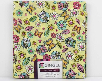 Fat Quarter Fabric, Flowers and Owls, Novelty Fabric, 100% Cotton Fabric, One Fat Quarter, 18in x 22in, Quilting Sewing Fabric, Quilt Pieces