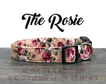 Pink Vintage Inspired Rose Dog Collar, Size 1 Inch Wide Large Ready To Ship!