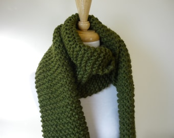 Extra Long Scarf Chunky Knit Scarf Unisex Scarf Mens Scarf Womens Scarf Warm Winter Scarf Cilantro 10 x 80 - Ready to Ship - Direct Checkout