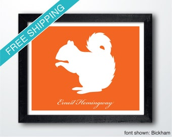 Personalized Squirrel Silhouette Print with Custom Message - Squirrel wall art, squirrel gift