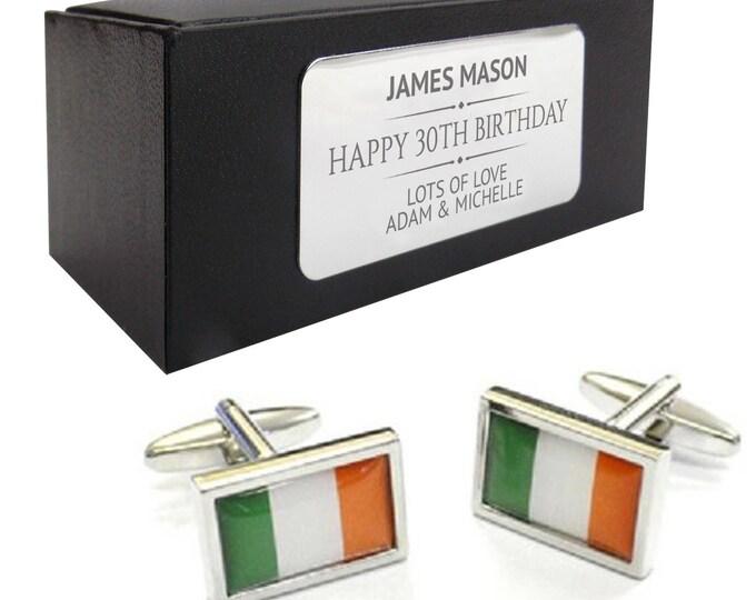 Eire, Irish, Ireland flag CUFFLINKS 30th, 40th, 50th, 60th, 70th birthday gift, presentation box PERSONALISED ENGRAVED plate - 083