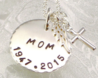 Personalized Mom Necklace with Angel Wing, Cross and Date of Birth and Death - Hand Stamped -  Loss of Mom -  In Memory - Remembrance