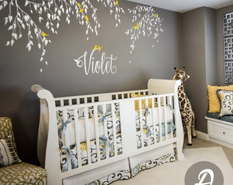 Nursery tree decal, branches and birds decal, vinyl nursery decal, white tree sticker, wall decor for nursery, nature wall decal - AM001