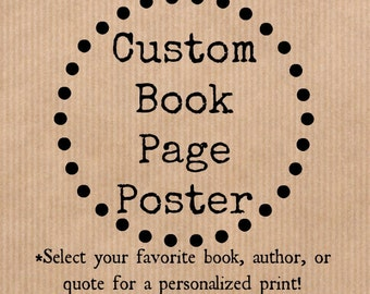 Custom Book Page Poster Wall Art