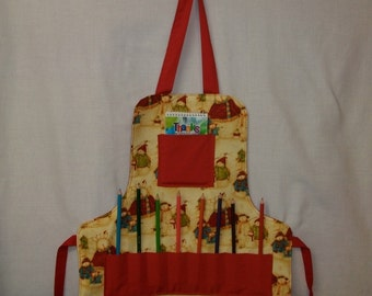 Childs Art Apron Christmas Snow family With Pockets For Crayons and More