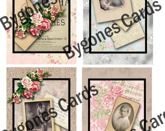 Shabby chic style journalling cards. Digital download. Printable journal cards.