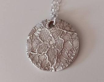Custom Wedding Dress Necklace / Silver Lace Necklace / Something Blue / Mother of the Bride Gift / Unique / Wedding Keepsake