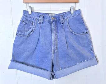 "1990's Denim Republic High Waist Shorts // Awesome Light Wash // 30"" Waist"