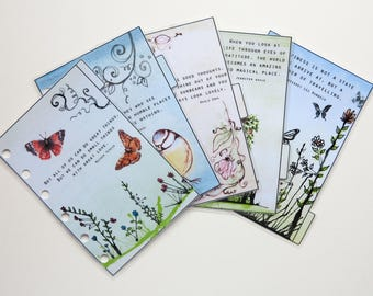 Pocket Size Filofax 'Quotes 2' dividers - handmade and laminated