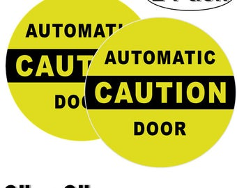 """Outdoor/Indoor (2 Pack) 6"""" X 6"""" CAUTION AUTOMATIC DOOR Warning Alert Decal Sticker - For Business Store, Shop, Cafe, Office, Restaurant"""