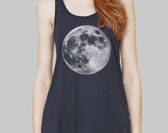 Moon - Moon Tank Top, Graphic Tank, Tank Tops, Graphic Tanks For Women, Bella Flowy Tank Top, Yoga Tank Top, Racerback Tank