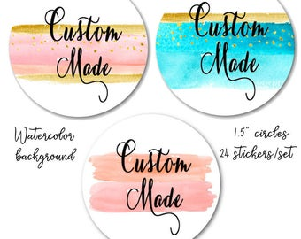 """Watercolor Stickers - Custom Made Stickers - Peach and Gold Stickers - Blue and Gold - Peach and Pink Custom Stickers, 1.5""""  Set of 24"""