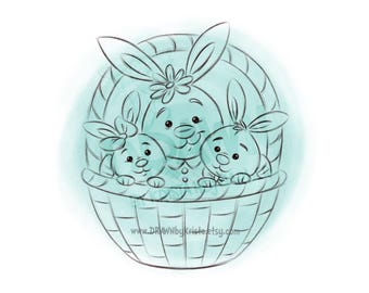 Easter Bunny Basket Family- Digital Stamp Art/ KopyKake Image- SP65- EBBFAM