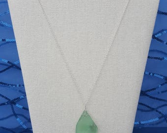 Seafoam Blue Sea Glass Pendant Necklace with Sterling Silver Chain