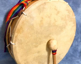 """Vintage Large Wooden 16"""" Animal Hide Skin Drum with Mallet, Rainbow Strap Percussion Play Drum"""