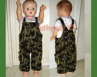 Baby Camouflage Overall, Buttons at legs for easy change - INSTANT DOWNLOAD Crochet Pattern